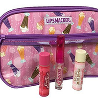 Smacker 3 Piece Lip Gloss Balm Ice Cream Theme Best Flavor Forever Collection with Cosmetic Bag Tote