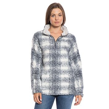 Frosty Tipped Big Plaid Pile 1/4 Zip Pullover in Charcoal by True Grit