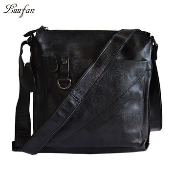 Men's genuine leather shoulder bag cow leather crossbody bag Real Leather messenger bag for iPad book casual leather bag