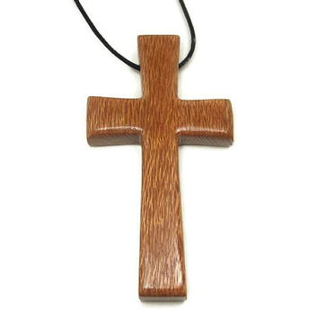 Large Cross Necklace, Mens Wooden Cross Necklace, Jewelry for Men, Australian Lacewood Pendant, Cross Pendant, Husband Gift, Gifts for Men