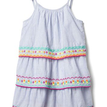Embroidery stripe tier dress | Gap