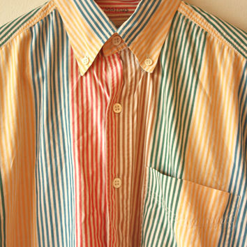 Multicolor Striped Banana Republic Safari and Travel Vintage Shirt Mens Small