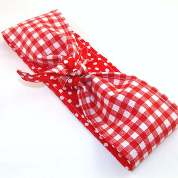 Pin up Rockabilly Head Scarf, Red Gingham on Red with White Polka Dots Reversible Headband 40s Hair