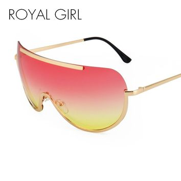 ROYAL GIRL Retro Inspired Women Sunglasses Oversize Shield Metal Half Frame Eyeglasses Frame Pink Yellow Lens ss624