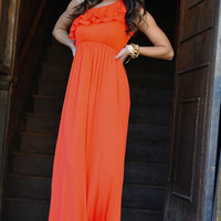 Fit For Perfection Maxi Dress: Coral/Orange | Hope's