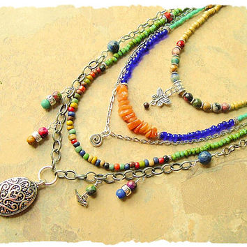 Bohemian Necklace, Multi Strand Gemstone Necklace, Boho Fashion Jewelry, Modern Hippie, bohostyleme, Kaye Kraus