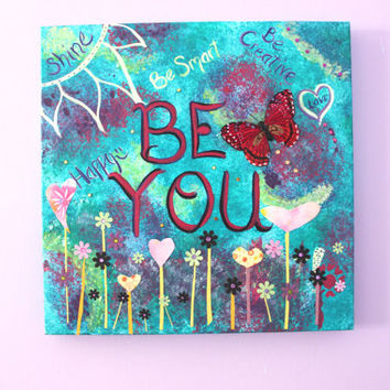 Inspirational Quote on Canvas, Art on Canvas, painting, Original Art, Mixed Media, Art Collage