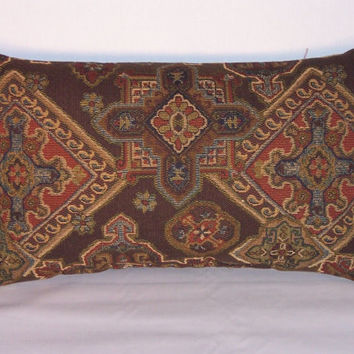 "Rust Blue Brown Southwest Throw Pillow Diamond Medallion Tapestry Brush Fringe OOAK Oblong  12x20"" Insert Included Ready to Ship"