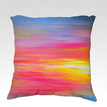 BRIGHT HORIZONS Rainbow Colorful Art Velveteen Pillow Cover 18x18 Abstract Stripes Red Blue Yellow Nautical Sunrise Sunset Decor Cushion