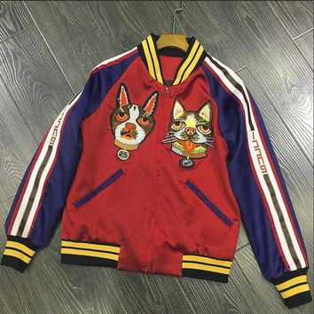 Gucci Fashion Women Men Personality Embroidery Dog Contrast Color Thin Silks And Satins Surface Long Sleeve Zipper Short Couple Coat Jacket Baseball Uniform Red