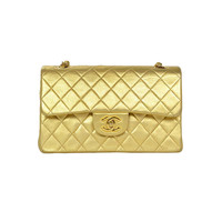 "Chanel Metallic Gold 9"" Small Classic Double Flap Bag w. Chain Strap"