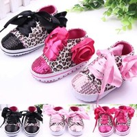 Baby Girls Leopard Sequin Soft Soled Ribbon Lace Up Shoes - 3 Colors