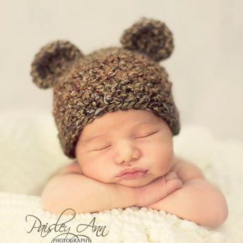 Teddy Bear Crochet Baby Hat  - Crochet Photography Prop - Brown - Size Newborn, 0-3 mos, 3-6 mos