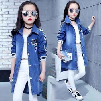 Trendy Spring Clothing Jeans Coat for Girls Denim Jackets Cartoon Children Outerwear Kid Active Autumn Clothes Teenager Long Trench Top AT_94_13