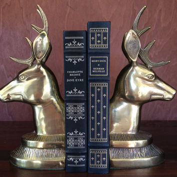 Brass Deer Bookends-Stag Bookends-Brass Buck Bookends