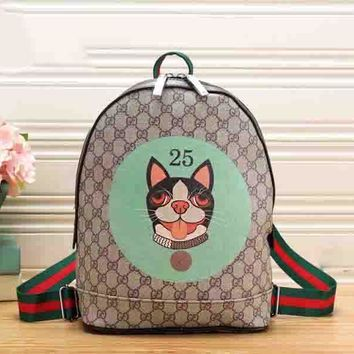 GUCCI Backpack Cute Puppy Number 25 School Bag B-MYJSY-BB Green
