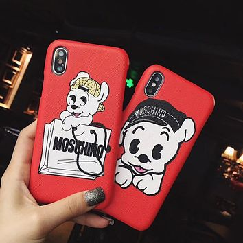 Moschino Tide brand classic print iPhoneXS max hard shell leather phone case cover