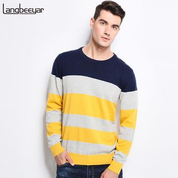 Autumn Winter Clothing Sweater Men Trend Stripe Slim Fit Winter Pullover Men Cotton Knitted Sweater Men
