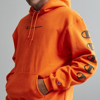 Champion autumn and winter tide brand men and women models wild printed letters loose hoodie Orange