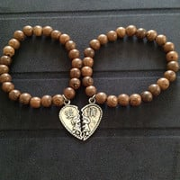 His and Hers  Wooden Mala Bracelet Set with Chinese Heart Charm