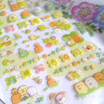 cute monster sticker fat cat cartoon sticker Japanese sushi monster seal green monster mascot clipart puffy animal clover cartoon label