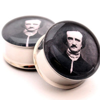 Edgar Allan Poe Picture Plugs gauges - 1 1/8, 1 1/4, 1 3/8, 1 1/2 inch