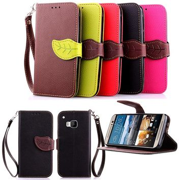 For HTC One M7 M8 M9 Luxury Leather Cover Flip Wallet Phone Case With Leaves Buckle And Lanyard Mobile Phone Shell