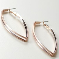 Layered Pointed Hoop Earring Rose Gold