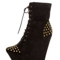 Fahrenheit Kristen 03 Black Studded Lace-Up Platform Booties