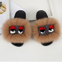FENDI Classic Hot Sale Fur Women Multicolor Slipper Flats Shoes Light Coffee