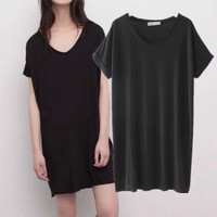 SIMPLE - Popular Fashionable Summer Beach Holiday Loose Long V Neck T-shirt b2413