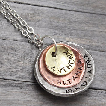 Hand Stamped Jewelry, Stacking Necklace, Mixed Metal Necklace, Mother Necklace,Stamped Necklace, Copper Brass Necklace, Personalized Jewelry