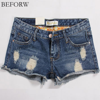 BEFORW Women Sexy Shorts 2017 Summer New Plus Size Women Clothing Holes Denim Shorts Ruffle Fashion High Waist Shorts Vintage