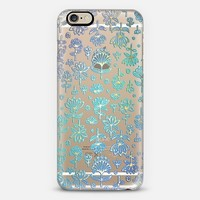Blue & Gold Lotus Pattern on Crystal Transparent iPhone 6 case by Micklyn Le Feuvre | Casetify