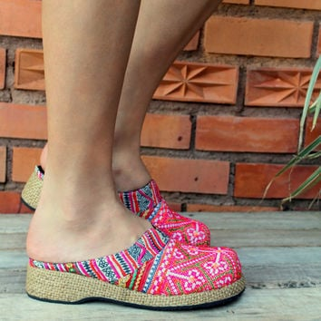 Womens Ethnic Hmong Embroidered Clogs, Pink Vegan Shoes Bohemian Style