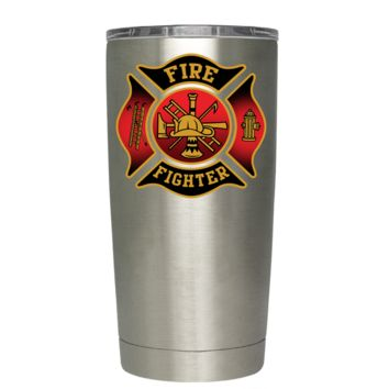 Black Red Fire Department Badge on Stainless 20 oz Tumbler