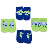 AD Sutton Baby Essentials 4-Pair Monster Sock in Blue/Green