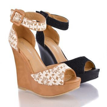 Madison120 Beige Crocodile By Wild Diva, Crochet Peep Toe Ankle Cuff Platform High Wedge Sandals