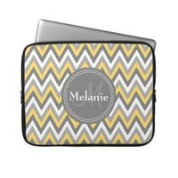 Monogrammed Yellow & Grey Chevron Pattern Laptop Sleeve from Zazzle.com