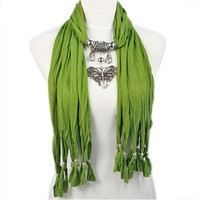 AllyDrew Butterfly Pendant Necklace Scarf Pendant Scarf, Green