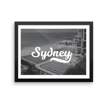 Sydney | TRAVEL ART PRINT | A5/A4/A3/A2 - Sydney Travel Poster, France, Graphic Design, Typography, Black and White