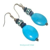 Handpainted Peru Beads And Turquiose Beaded Earrings