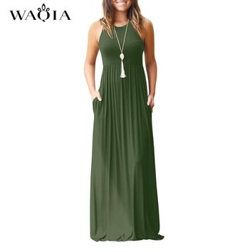 WAQIA Femme Boho Long Dress Summer Women Maxi Dress 2018 Women Sexy Sleeveless Tank Dresses Summer Casual Pocket Beach Sundress