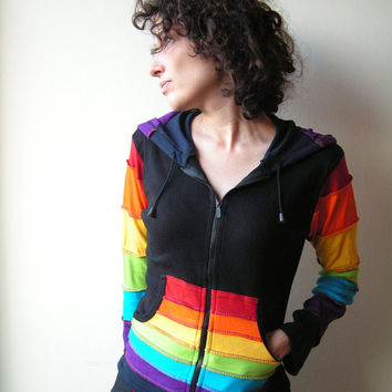 Patchwork Rainbow  Pixie  Hoodie - Psy Jacket - Tribal  - Elf  - Pixie Hood - Women  - Hippie