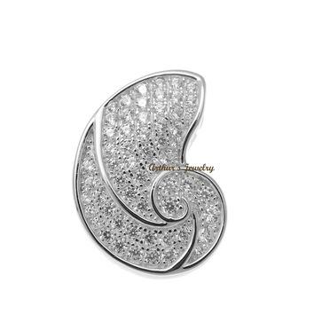 RHODIUM PLATED 925 STERLING SILVER HAWAIIAN NAUTILUS SHELL PENDANT CZ 15MM