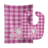Elephant and Baby Baby Bib & Burp Cloth BB6953STBU