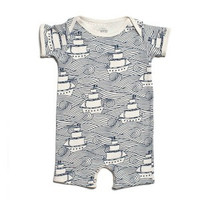 Navy Blue High Seas Organic Romper by Winter Water Factory