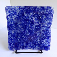 Cobalt Blue Fused Glass Plate made from Reclaimed Tempered Window Glass by BPRDesigns