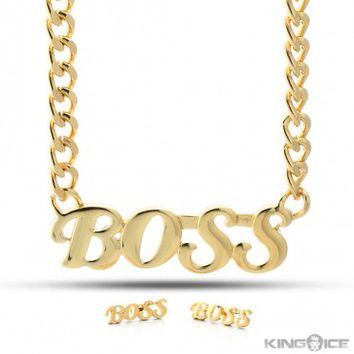 "Gold Plated ""BOSS"" Earrings Necklace Set"