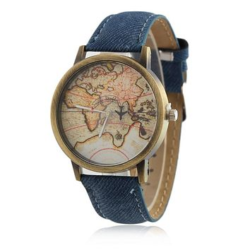 Map Quartz Watch with Denim Fabric Band By Plane Watches
